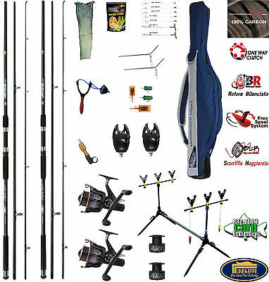 2 Canne Da Pesca Per Carpfishing - Kit Vip Carpa - Carbonio Carp-Fishing Sport