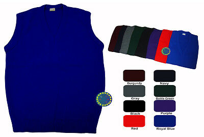 School Uniform Sleeveless Knitted Jumper Pullover V Neck Tank Top 8 Colours