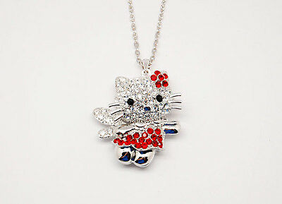 NEW!! HELLO KITTY BIG 3D BODY RED FLOWER WITH WING NECKLACE ~~!!