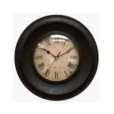 Chaney 13171 Metal Wall Clock - Dark Moss Metal Lens Material and glass movement