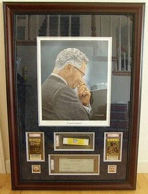Vince Lombardi Masterpiece Check Auto 2X Full Ice Bowl Ticket Green Bay Packers