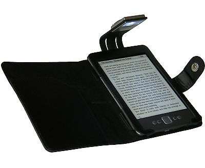 Black Case Cover And Light For New Amazon Kindle 4 - With Led Night Reading Lamp