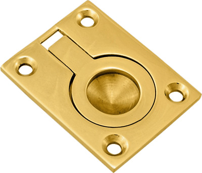 50mm SMALL  SOLID BRASS FLUSH RING PULL HANDLES CABINET CUPBOARD ETC
