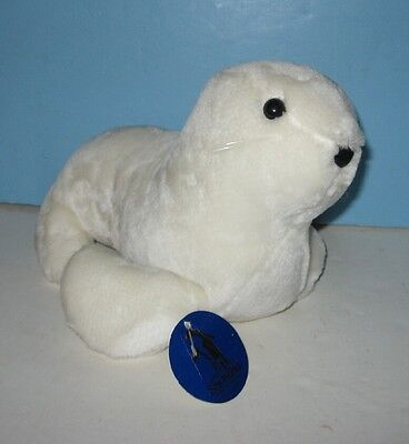 "Older 1989 Sea World Stuffed Plush White Seal Pup 10"" Mascot Animal Pal"