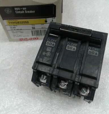 Ge General Electric Thhqb32050 New Circuit Breaker 3 Pole  50 Amp 240 Vac