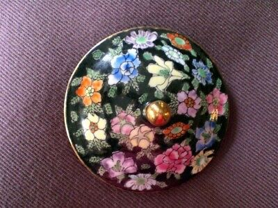 Vintage CHINTZ Lid (for sugar, etc.) - Black Background with Flowers