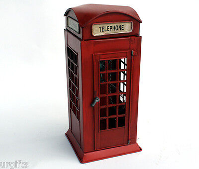 Vintage Hand Made 1/10 London Red Telephone Box Booth Bar Decor Metal Model S