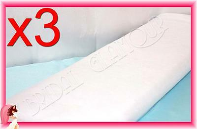 3 x WHITE Soft Wedding Tulle Bolt 1.4m x 36m Fabric Material Roll Drape Swag Bow
