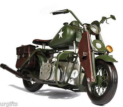 Vintage Hand Made 1/6 Harley Davidson Motorcycle 1942 Metal Art Model Dark Green