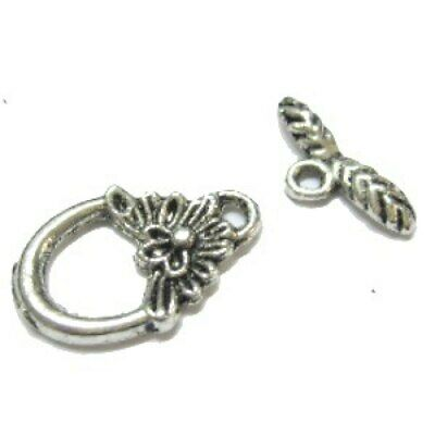 10 Sets Silver Plated Flower Toggle Clasps - A6407