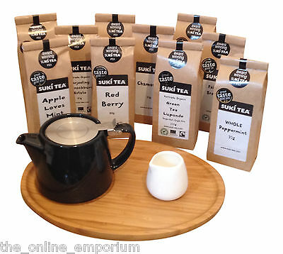 Black For Life Teapot & Infuser, Bamboo Tray & Creamer -Option To Add Suki Tea