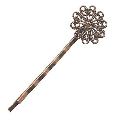 5 Antique Copper Bobby Pins Flower Hair Clips Slides Filigree Bezels