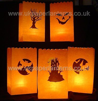 10 Mixed Halloween Paper Lantern Bags Party Decoration Bag Lanterns - Flameproof