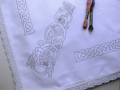 CELTIC Tablecloth 110x110cm to embroider with lace edge printed embroidery cloth