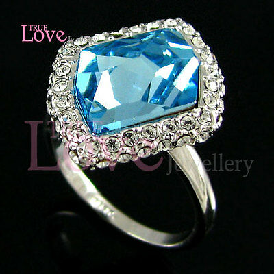 0785ef4b0 18K WHITE GOLD Plated Blue Ring Made with Swarovski Crystal RP9323 ...