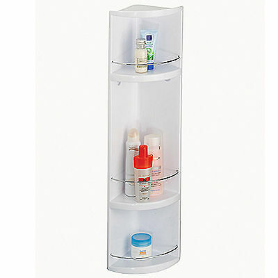 Croydex White Corner Wall Hung 3 Tier Plastic Bathroom Storage Unit Cabinet