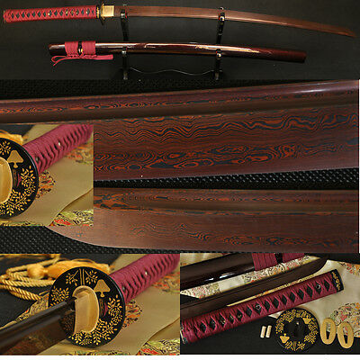 Black&Red Folded Steel Full Tang Blade Japanese Battle Ready Sword KATANA Sharp