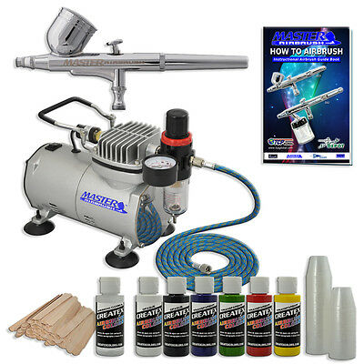 MASTER Dual-Action AIRBRUSH SYSTEM Air CompressorKit 6 Color Createx Paint Set