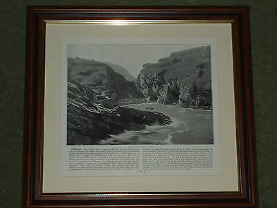 1895 Print over 100 years old Tintagel showing King Arthur's Castle