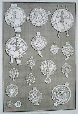 """The Seals of the Berkeley Family"" by S. Lyons - 1803 (11"" x 16""). 200 years Old"