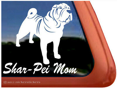 SHAR-PEI MOM ~  High Quality Vinyl Dog Auto Window Sticker Decal