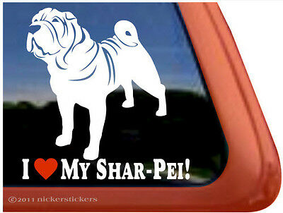 I LOVE MY SHAR-PEI! ~  High Quality Vinyl Dog Auto Window Sticker Decal