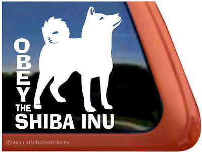 OBEY THE SHIBA INU ~  High Quality Vinyl Dog Auto Window Sticker Decal