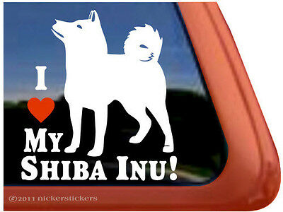 I LOVE MY SHIBA INU! ~  High Quality Vinyl Dog Auto Window Sticker Decal