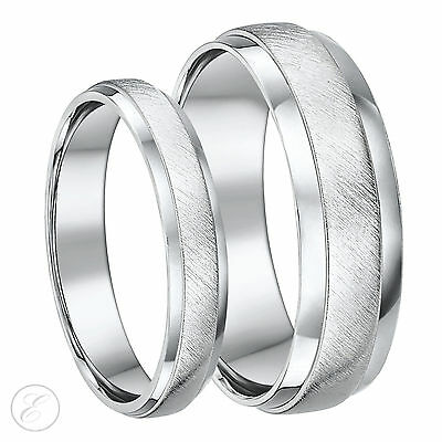 Sterling Silver His & Hers Designed Heavy D Shaped Wedding Rings 4&6mm New 925
