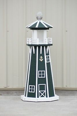 """39"""" Octagon Electric and Solar Powered Poly Lumber Lighthouse (Green/white trim)"""