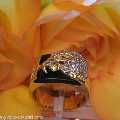 """BAGUE CHEVALIERE PL//OR  /""""UNITED STATES VETERAN/"""" TAILLE 65-66 AGNES CREATIONS"""