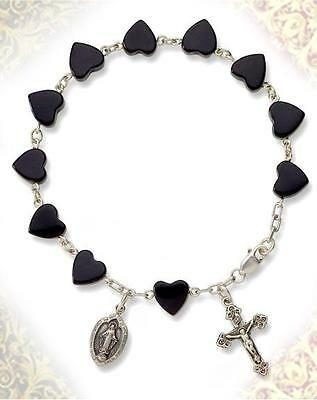 Black Onyx Heart Rosary Sterling Silver Bracelet Cross and Miraculous Medal Gift