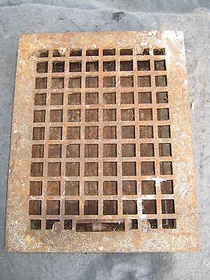 "Vintage Heat Grate Grill Vent Register Antique 10 3/4 x 14"" # 206-11"