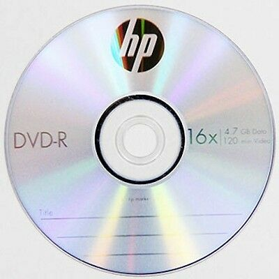 10 HP Logo 16X DVD-R DVDR Recordable Blank Disc Media 4.7GB with Paper Sleeve
