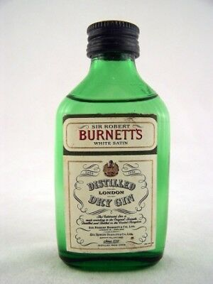 Miniature circa 1977 Burnetts White Satin Gin Isle of Wine