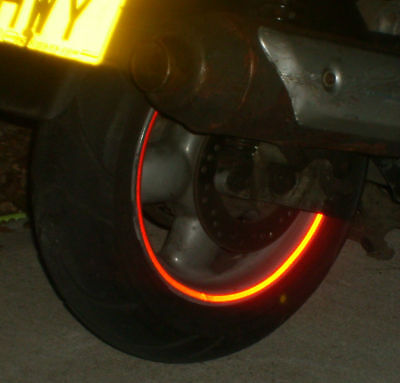 REFLECTIVE SCOOTER WHEEL rim STICKERS tape  7 COLOURS inc BLACK (reflects White)