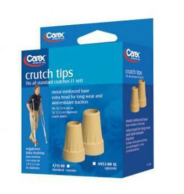 "1pr Replacement Crutch Tips Standard or XL 3/4"" or 7/8"" Crutches Carex NEW"