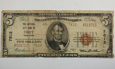 Series 1929 $5 National Currency Note, City Bank Troy NY, 7612