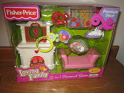 Fisher Price Loving Family Grand Dollhouse Christmas Seasonal Room Fireplace NEW