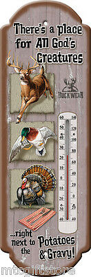 Vintage Style  - All God's Creatures.. Tin Thermometer # 13470 Anti PETA message