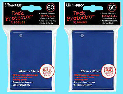 120 Ultra Pro DECK PROTECTOR BLUE Card Sleeves YuGiOh 2 packs NEW Small Size