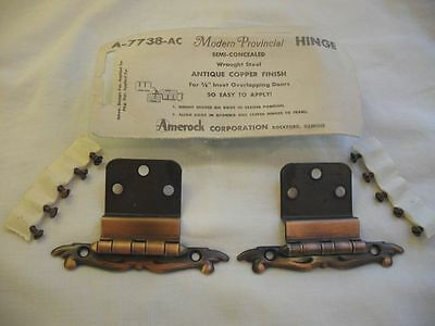 "Vtg NOS Antique COPPER flash Cabinet Hinges 3/8"" Inset Doors NIP Provincial"