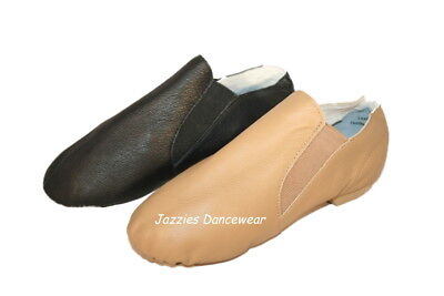Girls Tan or Black Split Sole Jazz Pull On Shoes Booties NEW Sizes 10-4.5