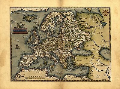 NEW Europe Evropae Antique Map Abraham Ortelius Reproduction Old European Map