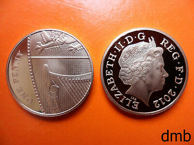 2012: Royal Coat of Arms PROOF 1p Coin: 1 Pence