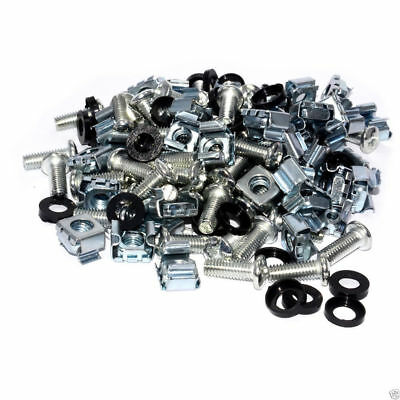 Rack fixing Set M6 Captive Nuts x 50/Bolts x 50 & Plastic Washers x 50