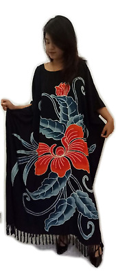 Amazing Black ORCHID Flower Kaftan Dress Floral Butter Soft Fabric Long Bali New