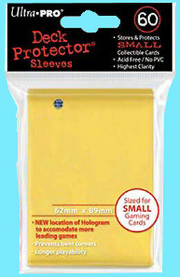 60 Ultra Pro DECK PROTECTOR Card Sleeves YELLOW YuGiOh 1 Pack Small Size NEW