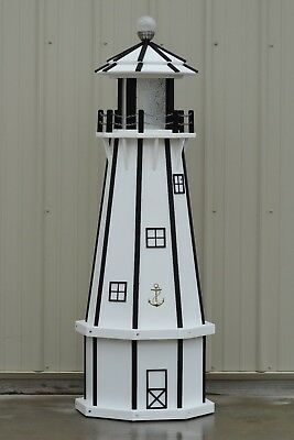 5' Octagon Electric and Solar Powered Poly wood Lighthouse ( White/Black trim)