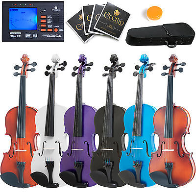 "Mendini 16"" 15"" 14"" 13"" 12"" Student Viola +Tuner ~Wood Black Blue Purple White"
